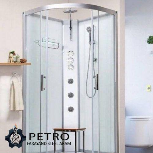 حمام شیشه ای با اتصالات استیل