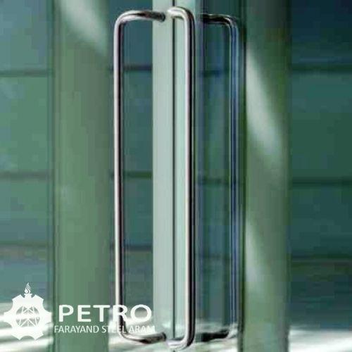درب شیشه ای با دستگیره استیل